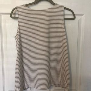Grey and white button-back LOFT tank top